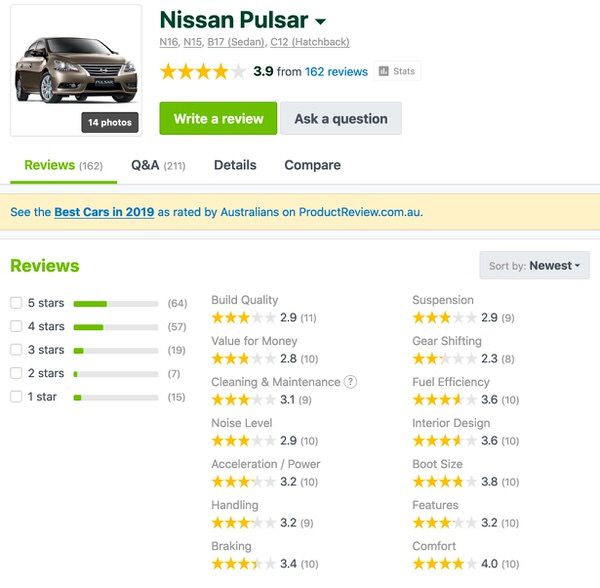 Nissan Pulsar Customer Reviews Australia