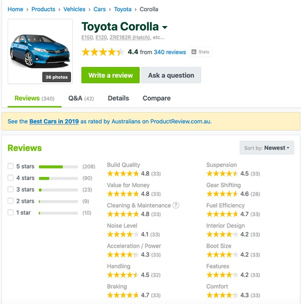 Toyota Corolla Positive Customer Reviews