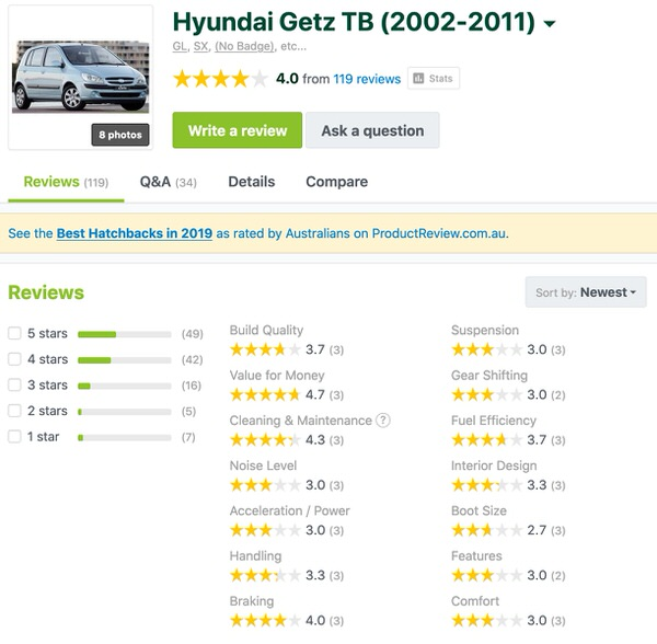 Used Hyundai Getz for sale - customer reviews