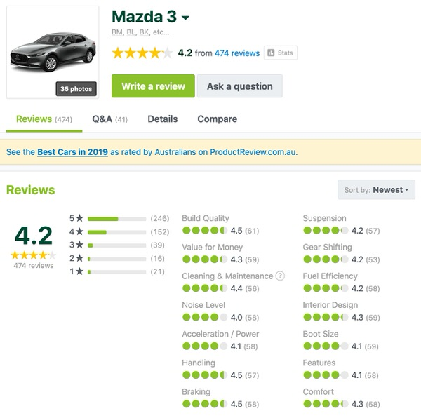 Mazda 3 for sale - Customer Reviews - well made car