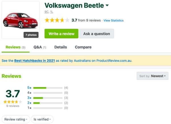 Volkswagen VW Beetle Customer Reviews and Comments - Sydneycars
