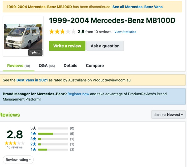 Customer Review for Used Mercedes Benz MB100D van from Sydneycars